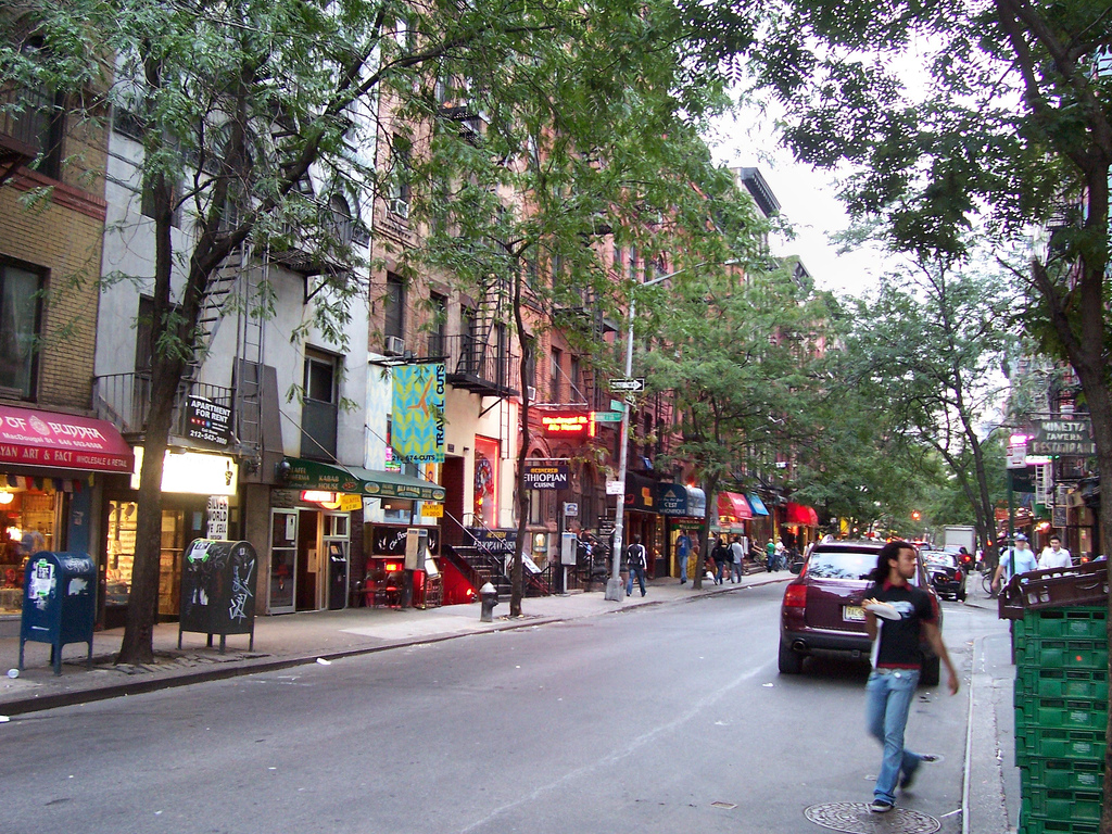 a row of shops and restaurants in greenwich village
