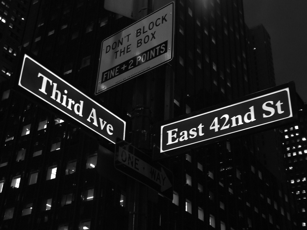 Sign Marking Intersection Of Third Avenue And East 42nd ...