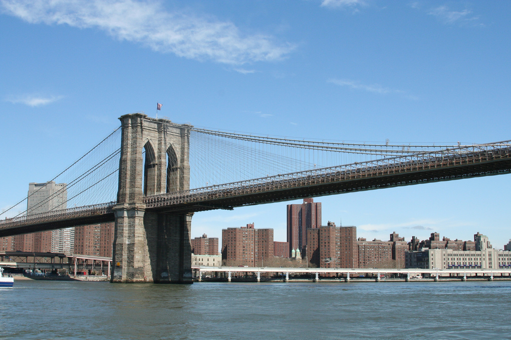 brooklyn bridge it was the longest suspension bridge in the world new york pictures. Black Bedroom Furniture Sets. Home Design Ideas