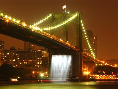 Olafur Eliasson's Waterfalls Under The Brooklyn Bridge