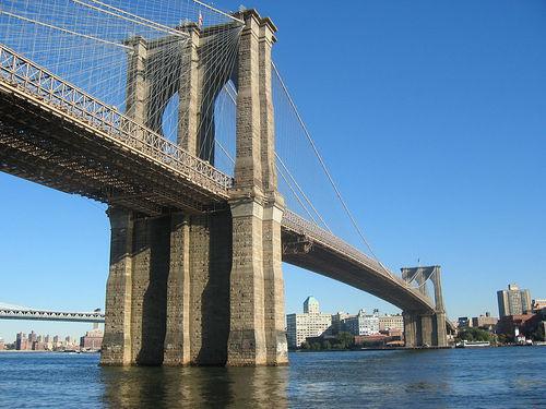 The Majestic Brooklyn Bridge Standing Over East River, a National Historic Landmark