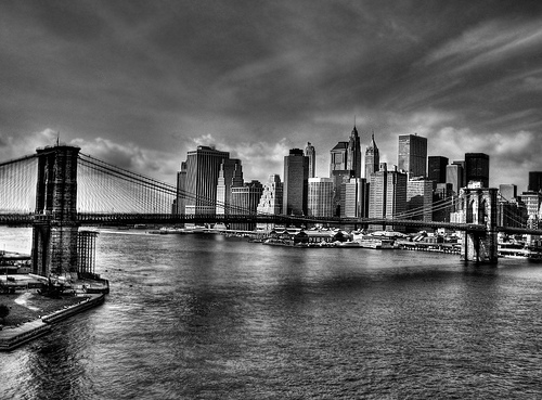 A Black And White Image Of The Brooklyn Bridge