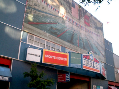The Front Of Chelsea Piers Sports Center On An Overcast Day