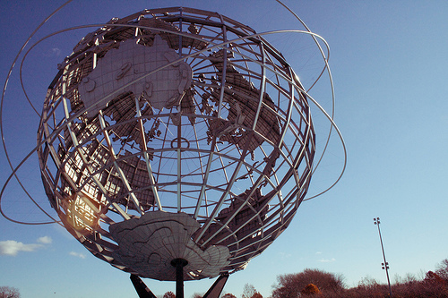 Unisphere Globe Against A Crisp, Blue Sky Background