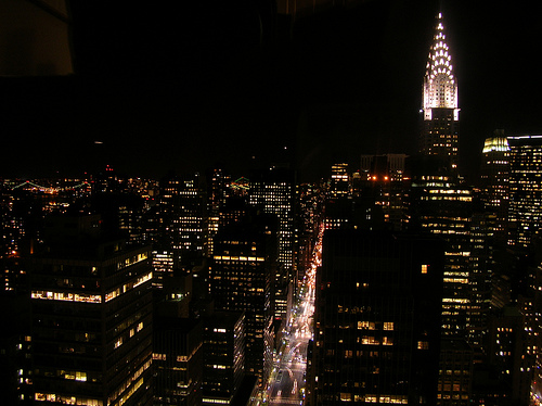 A View Of The Chrysler Building At Night.