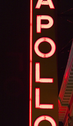 A Close Up At Night Of The Apollo Theater Sign.