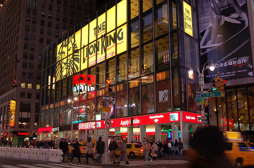 7Th Avenue Building With Large Sign For Lion King Broadway Musical