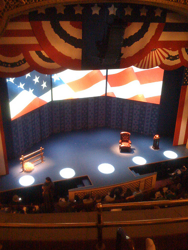 Interior Of Broadway Theatre With U.S. Flag Patriotic Decorations