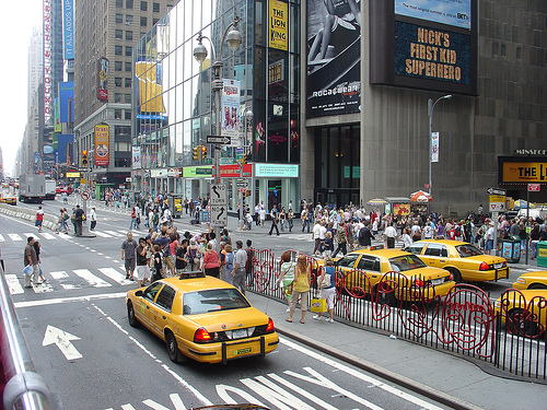Looks Like More Pedestrians Than Taxis In The Broadway Theatre District