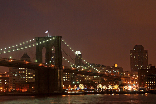 Brooklyn Bridge On A Clear Night.