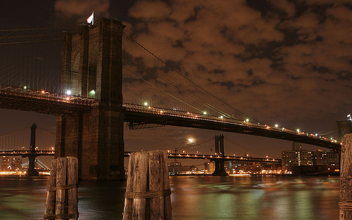 Brooklyn Bridge At Night, Maintained By New York City Department Of Transportation
