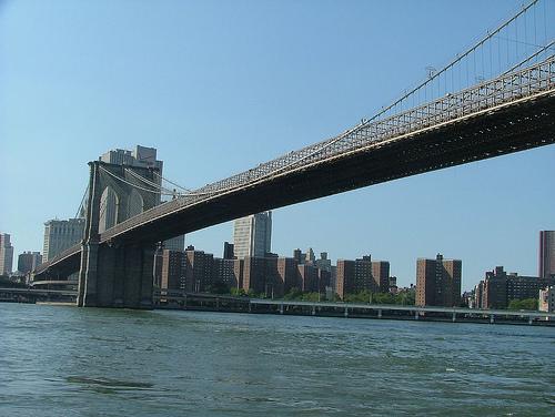 Brooklyn Bridge, A Suspension Bridge, Spanning The East River In New York City.