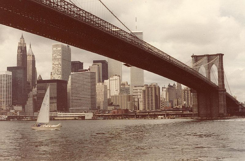 View Of The Brooklyn Bridge, One Of The United State's Oldest Suspension Bridges.