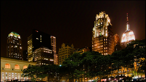 Bryant Hotel And The Empire State Building, At Night On The Bryant Park, A Privately-managed Public Park