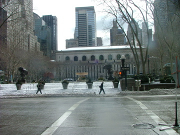 People Walking Past Bryant Park On A Cold Winter Morning