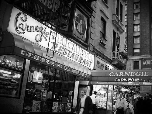 A Black And White Photo Of Carnegie Deli.