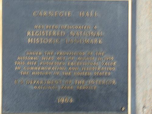 Plaque Stating Carnegie Hall Is A Historic Landmark.