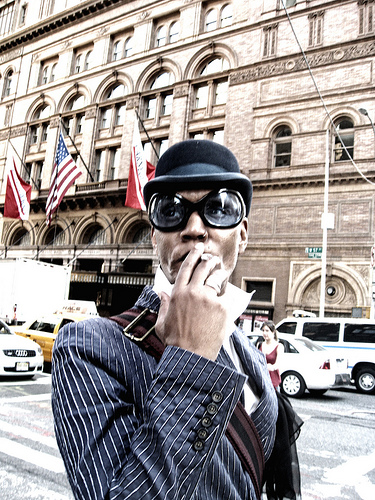 Satisfied With His Cigarette In Front Of The Carnegie Hall