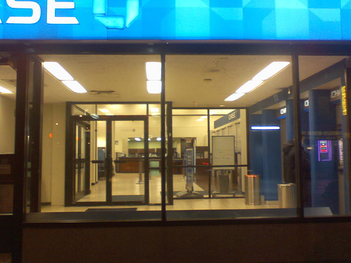 Looking Into The Chase Bank Lobby At Night