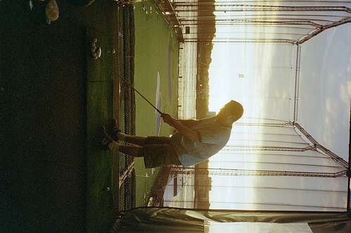 A Main Practices His Putt At The Putting Range In Chelsea Piers