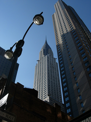 Looking Up At The Art Deco Chrysler Building On A February Morning