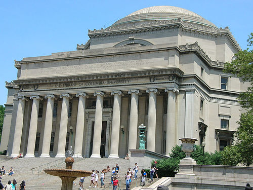 The Main Building Of Columbia University On A Sunny Day.