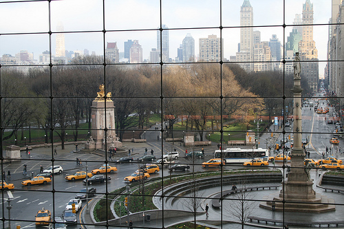 Busses And Taxis Rounding Columbus Circle As Seen From The Time Warner Building