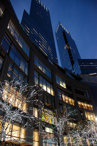 The Time Warner Building At Columbus Circle In Winter.