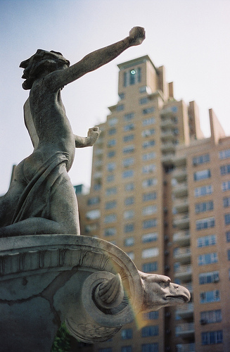 An Angelic Statue In Columbus Circle.