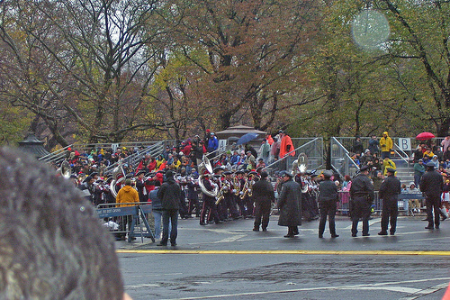 Macy's Day Parade: Homewood High Marches Through Columbus Circle In The Rain.