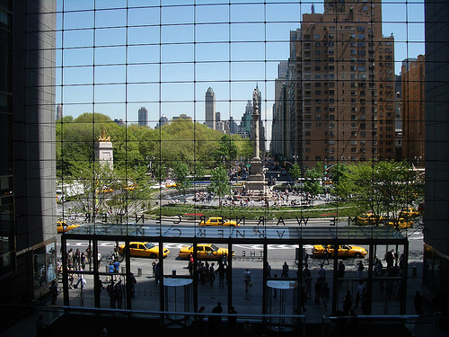 View Of Columbus Circle Through Pane Of Windows Of The Time Warner Center