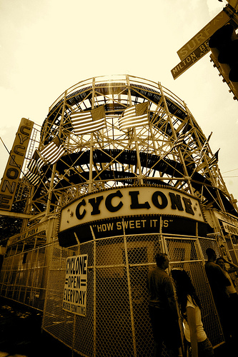 The Classic Cyclone On Coney Island.  In 1927, It Cost You 25 Cents To Enjoy.