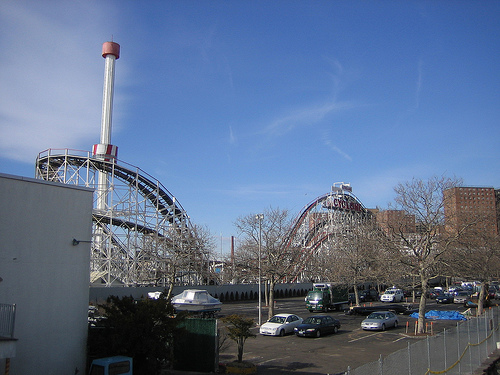 The Historic Roller Coaster, The Cyclone In Coney Island Park Brooklyn New York