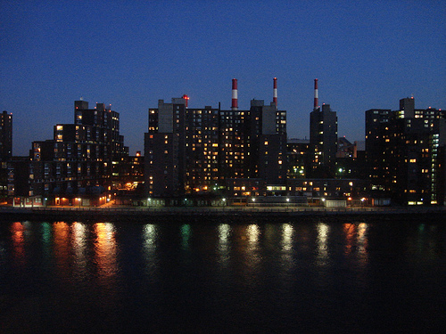The Lighting Shades Of The Buildings Are Falling On Near The East River