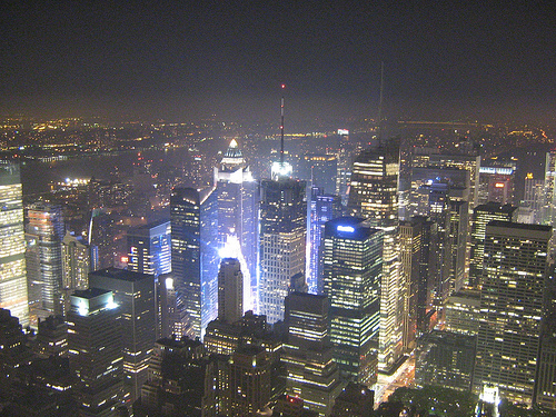 A Fantastic View From About Of New York City And The Empire State Building.