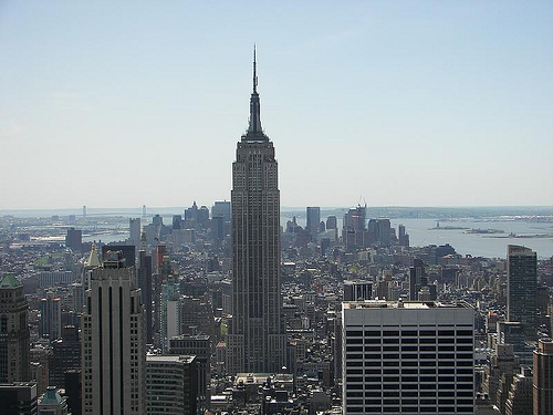 The 102-story Empire State Building As Seen From The Gel Building At Rockefeller Center.