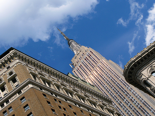 Great Day With Blue Sky To Look Up At The Empire State Building.