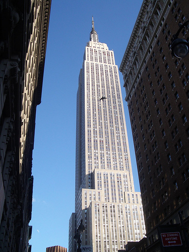 Looking Up A The Empire State Building On A Clear Day