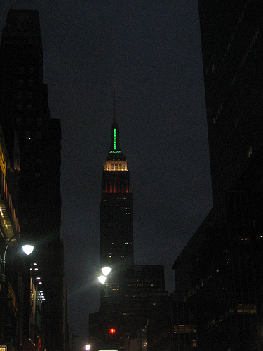 Empire State Building On A Dark Night, Capped With Green Light