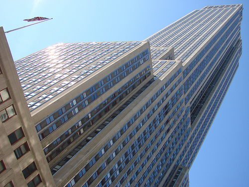 Partial Not Straight View Of The Empire State Building In A Sunny Day In New York