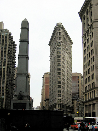 A Look At The Flatiron Building Which Was Built In 1902 From The Front.