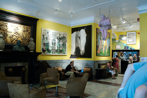 The Very Art Filled Lobby Of The Hotel Chelsea On 23rd Street In Manhattan
