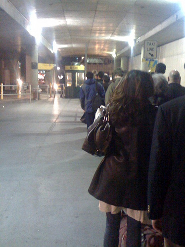 Single File Line In The Taxi Line At LaGuardia Airport