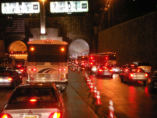 Even At Night Traffic Can Be Tough Heading Into The Lincoln Tunnel.