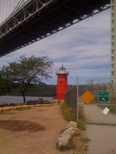The Little Red Lighthouse, Right At Home Underneath The George Washington Bridge.