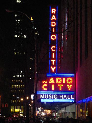 A Nighttime View Of Radio City Music Hall.
