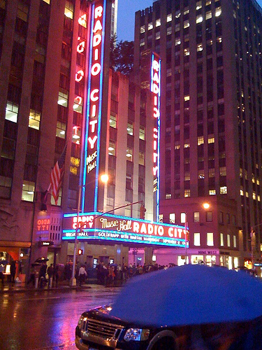 Radio City Music Hall Showering The Street With Its Neon Glow.