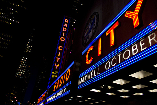 Colorful Neon Sign For Radio City Music Hall In Manhattan Night