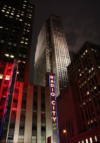 Night Time Photograph Of Radio City Music Hall