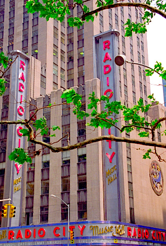 The View Of The Radio City Music Hall Being Softened By Leaf Filled Branches.